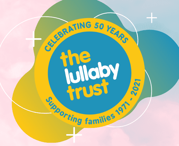 The Lullaby Trust Logo On Pink and Blue background